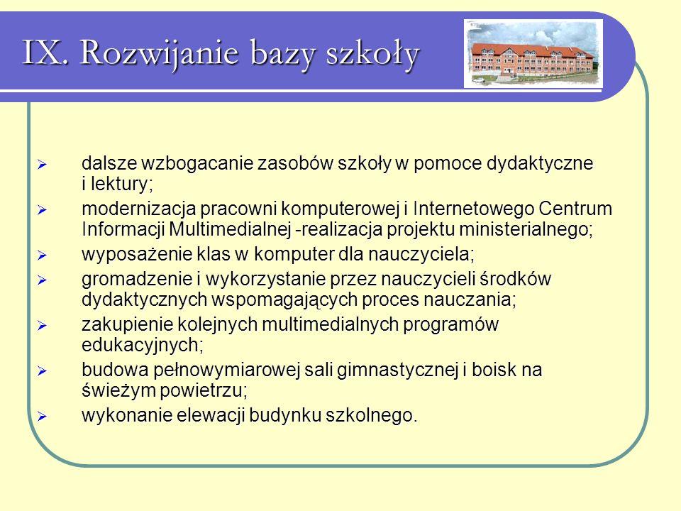 IX. Rozwijanie bazy szkoły