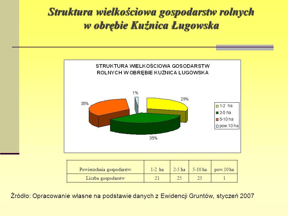 Struktura wielkościowa gospodarstw rolnych w obrębie Kuźnica Ługowska