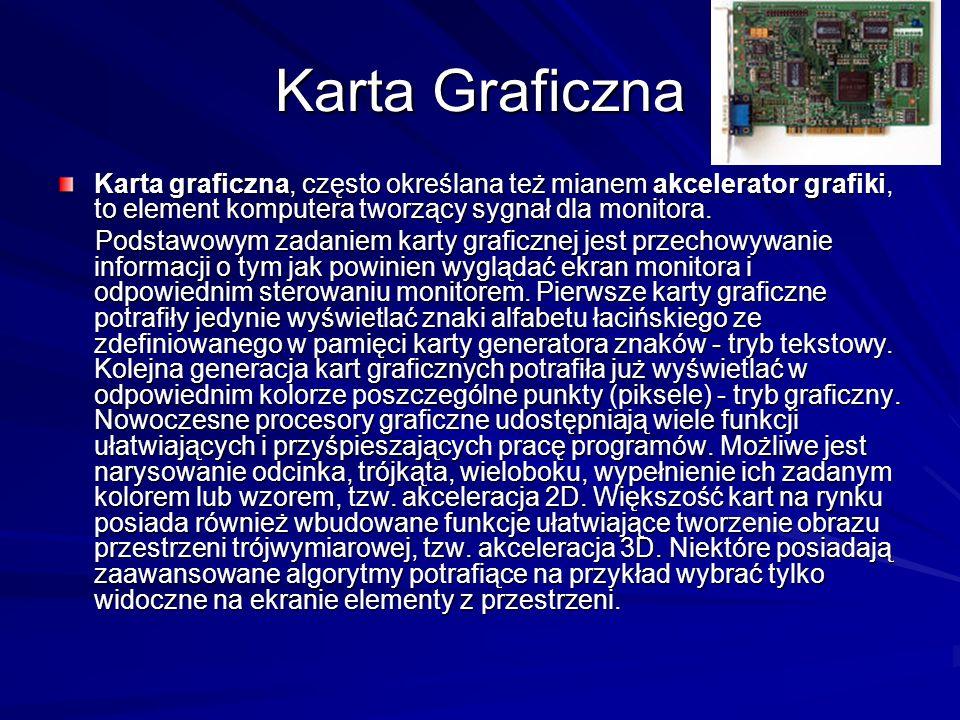 Karta Graficzna Karta graficzna, często określana też mianem akcelerator grafiki, to element komputera tworzący sygnał dla monitora.
