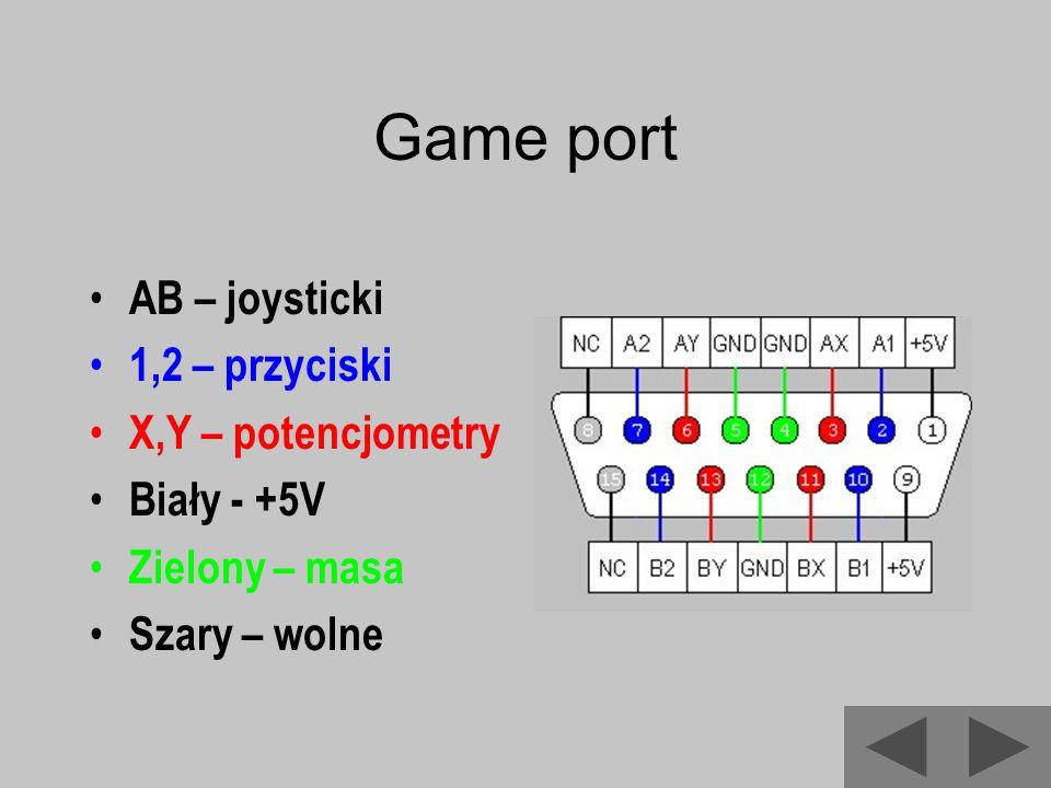 Game port AB – joysticki 1,2 – przyciski X,Y – potencjometry