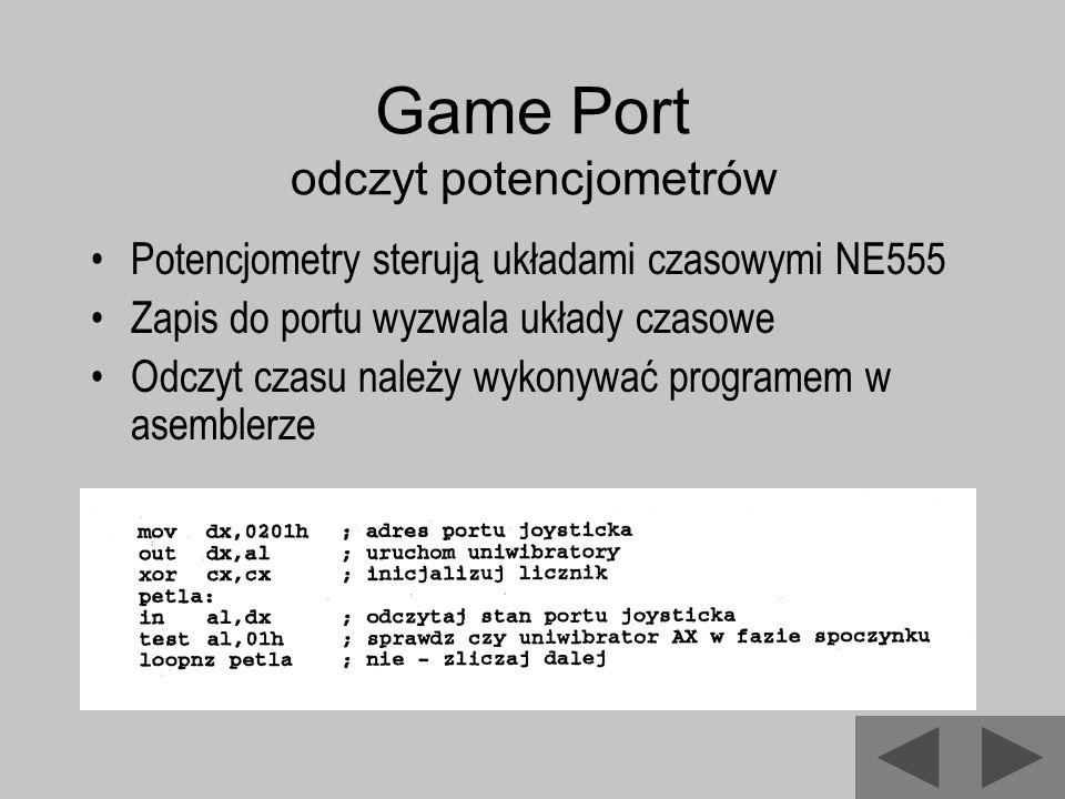 Game Port odczyt potencjometrów