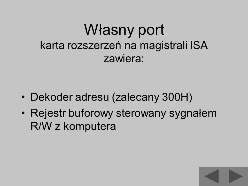 Własny port karta rozszerzeń na magistrali ISA zawiera: