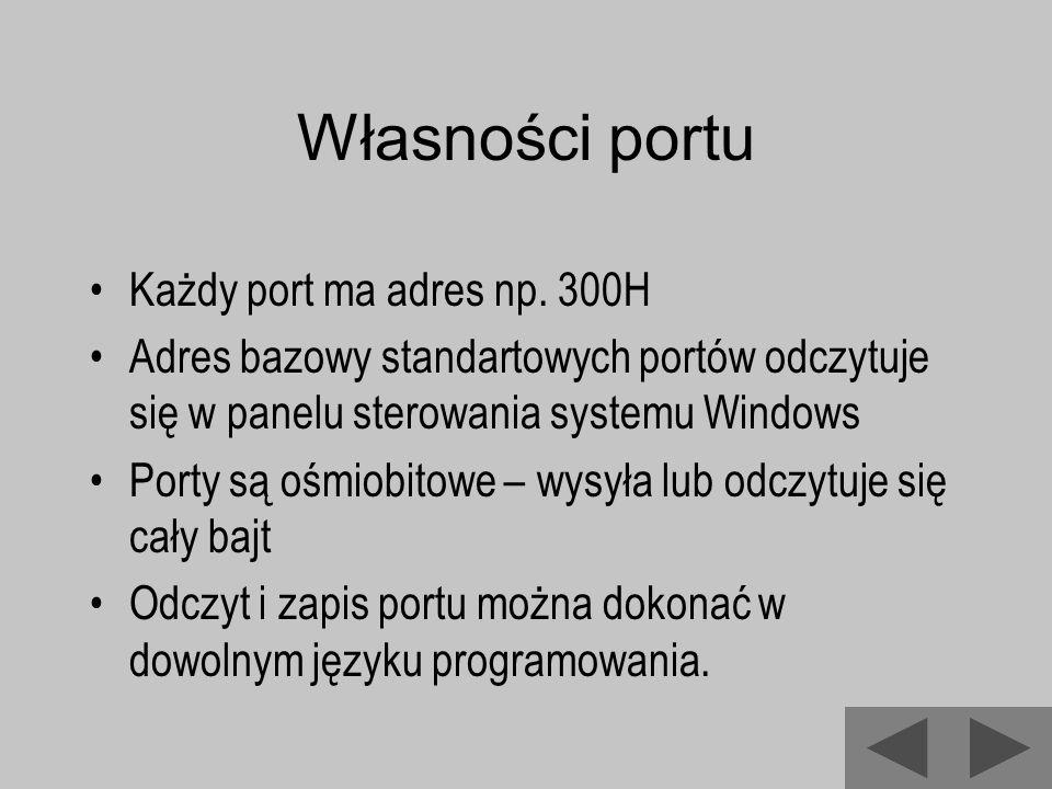 Własności portu Każdy port ma adres np. 300H