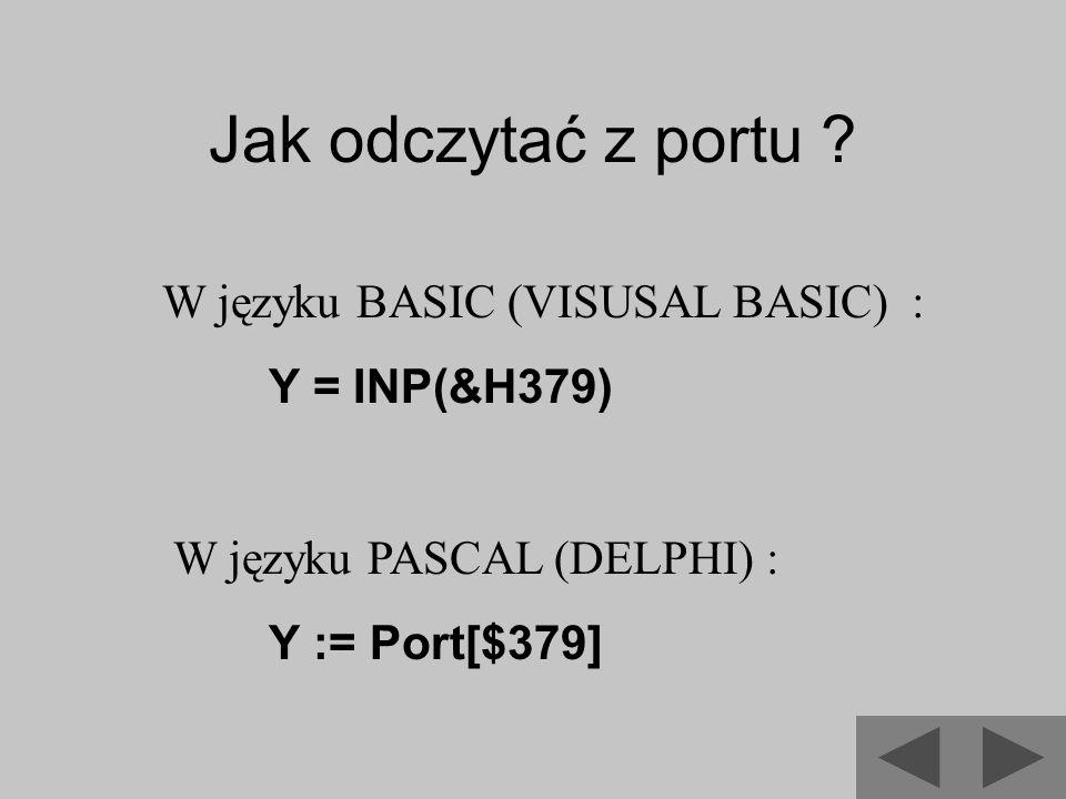Jak odczytać z portu W języku BASIC (VISUSAL BASIC) : Y = INP(&H379)