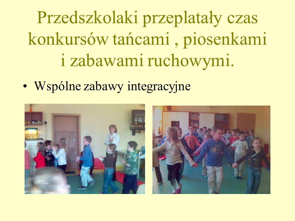 Przedszkolaki przeplatały czas konkursów tańcami , piosenkami i zabawami ruchowymi.