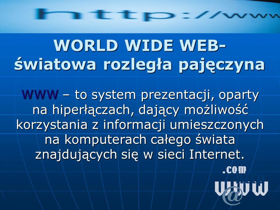 WORLD WIDE WEB- światowa rozległa pajęczyna