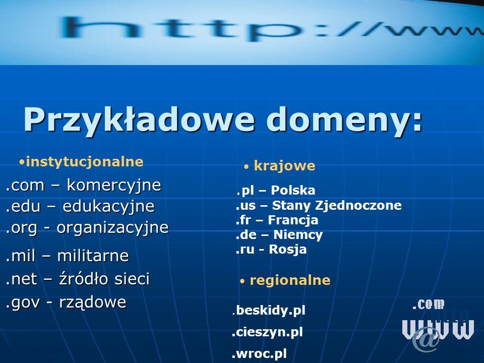 .com – komercyjne .edu – edukacyjne .org - organizacyjne
