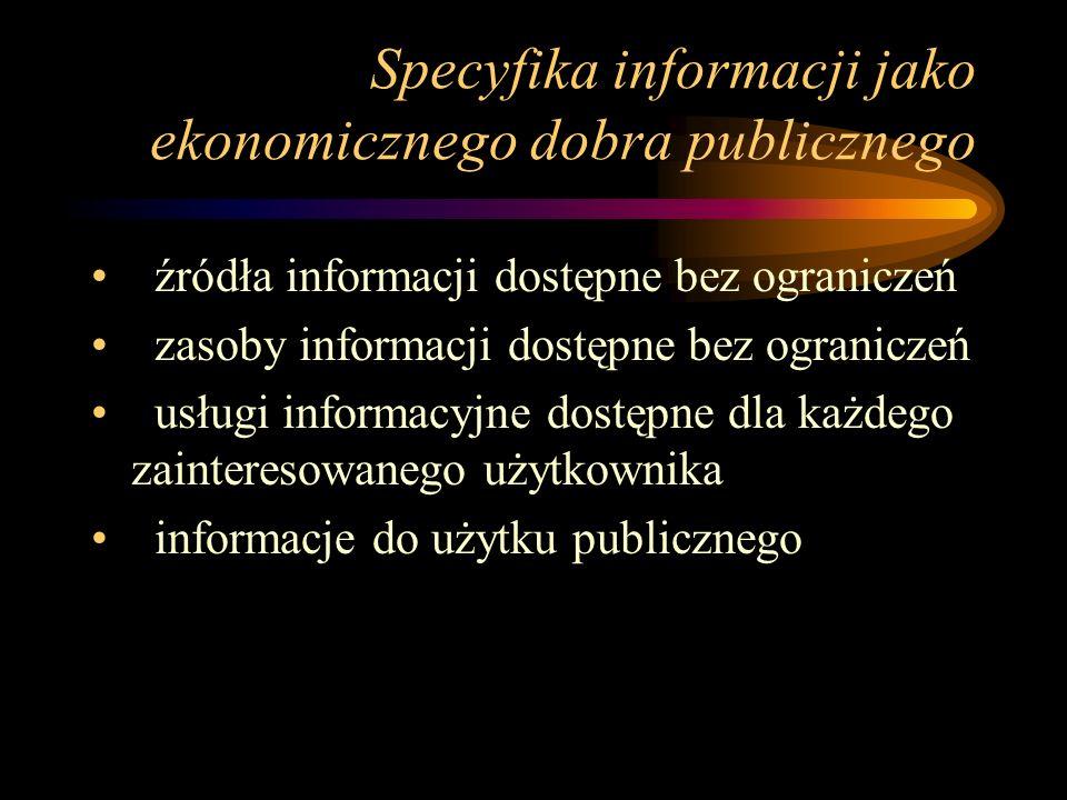 Specyfika informacji jako ekonomicznego dobra publicznego