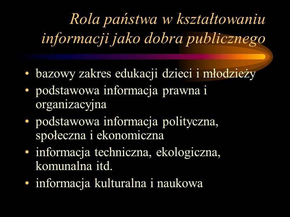 Rola państwa w kształtowaniu informacji jako dobra publicznego