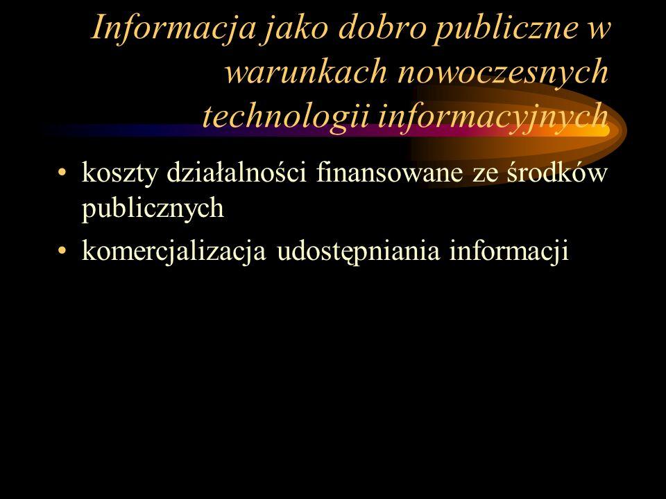 Informacja jako dobro publiczne w warunkach nowoczesnych technologii informacyjnych