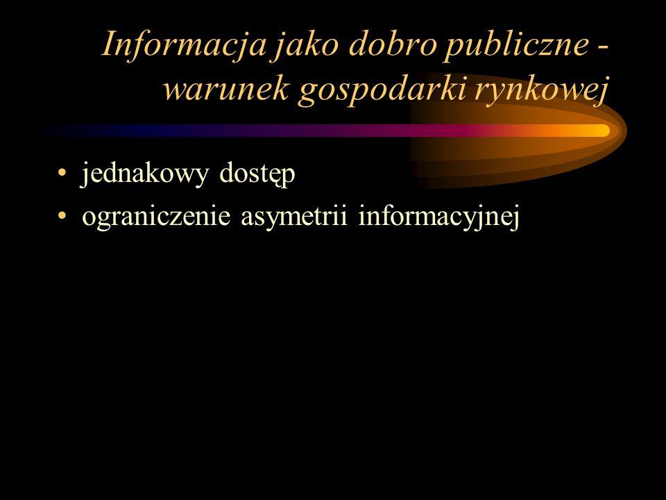 Informacja jako dobro publiczne -warunek gospodarki rynkowej