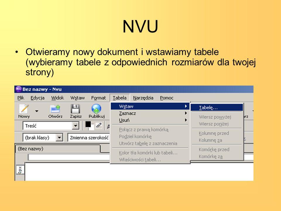 NVU Otwieramy nowy dokument i wstawiamy tabele (wybieramy tabele z odpowiednich rozmiarów dla twojej strony)