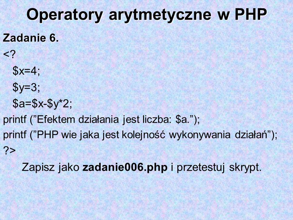 Operatory arytmetyczne w PHP