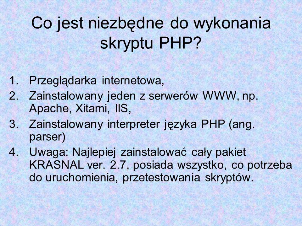 Co jest niezbędne do wykonania skryptu PHP