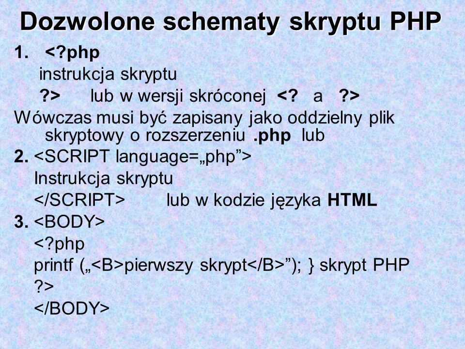 Dozwolone schematy skryptu PHP