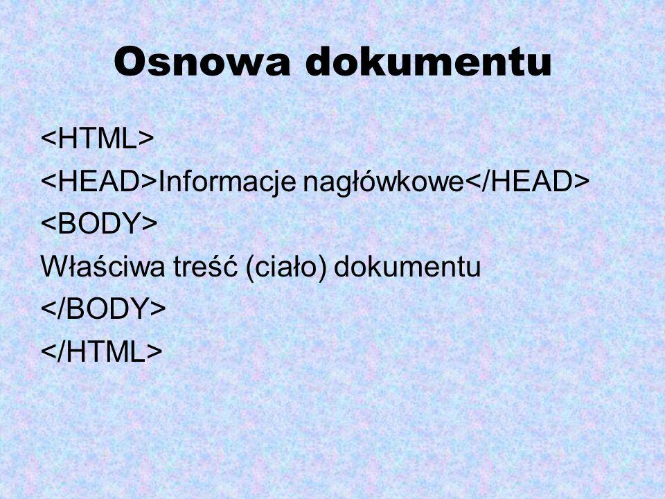 Osnowa dokumentu <HTML>