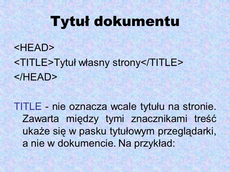Tytuł dokumentu <HEAD>