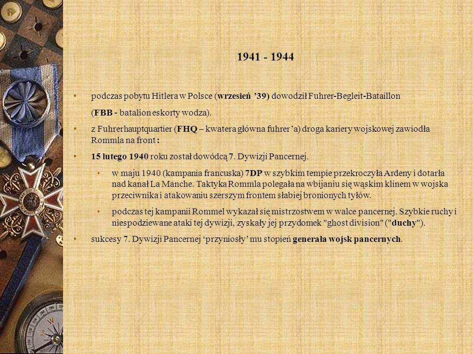 1941 - 1944 podczas pobytu Hitlera w Polsce (wrzesień '39) dowodził Fuhrer-Begleit-Bataillon. (FBB - batalion eskorty wodza).