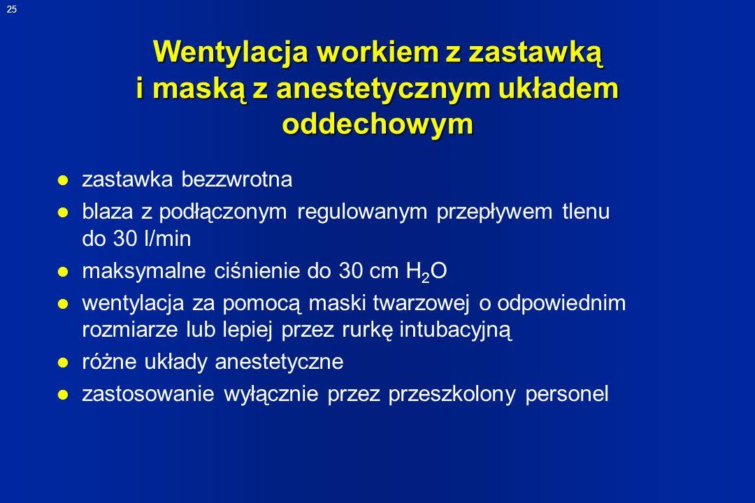Wentylacja workiem z zastawką i maską z anestetycznym układem oddechowym