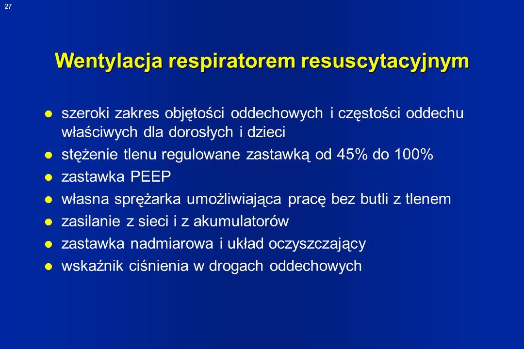 Wentylacja respiratorem resuscytacyjnym