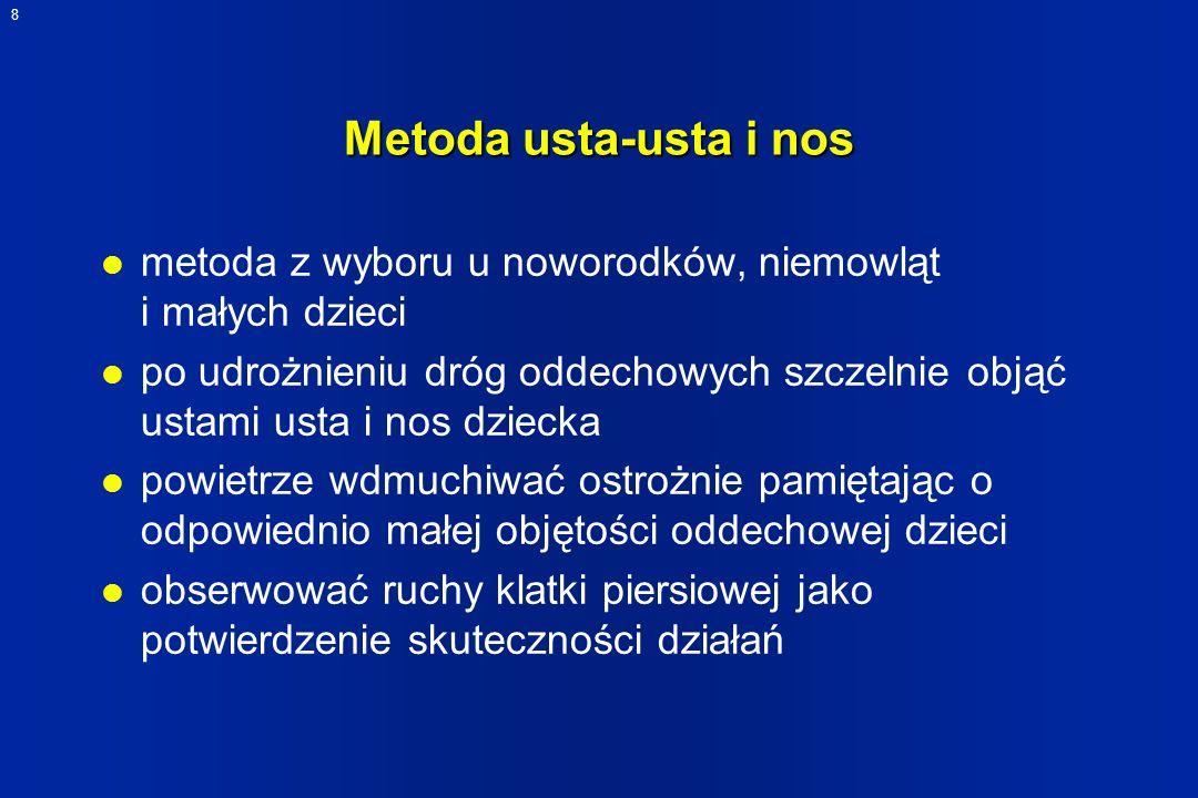 Metoda usta-usta i nos metoda z wyboru u noworodków, niemowląt i małych dzieci.