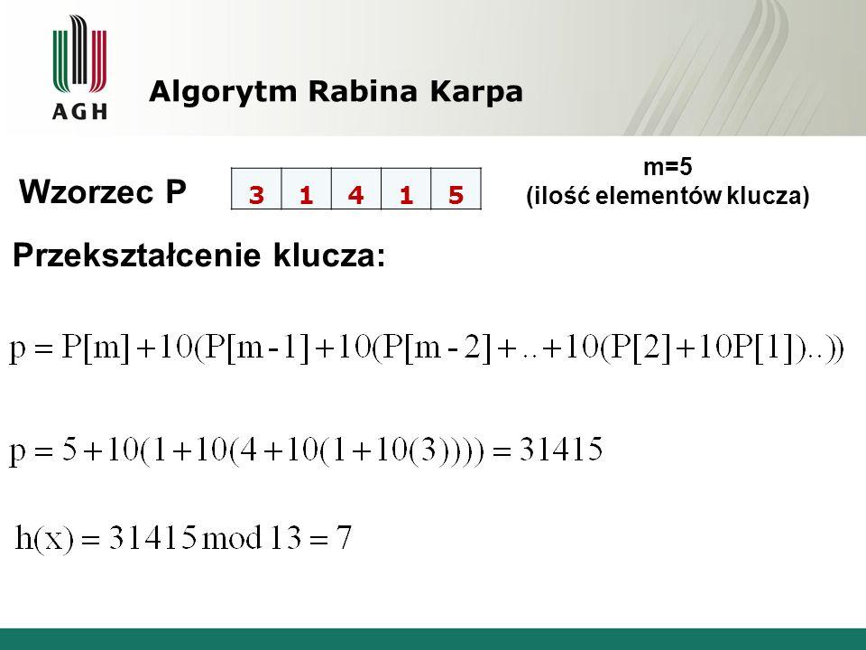 m=5 (ilość elementów klucza)