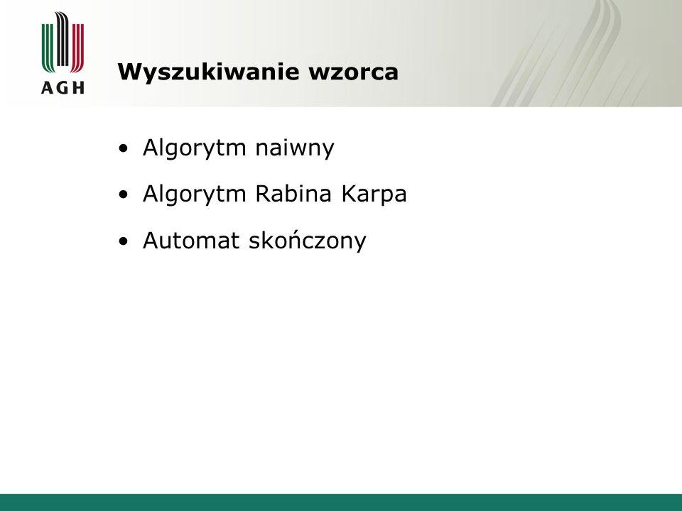 Wyszukiwanie wzorca Algorytm naiwny Algorytm Rabina Karpa Automat skończony