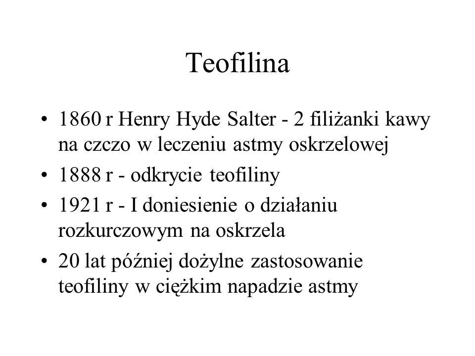 Teofilina 1860 r Henry Hyde Salter - 2 filiżanki kawy na czczo w leczeniu astmy oskrzelowej. 1888 r - odkrycie teofiliny.