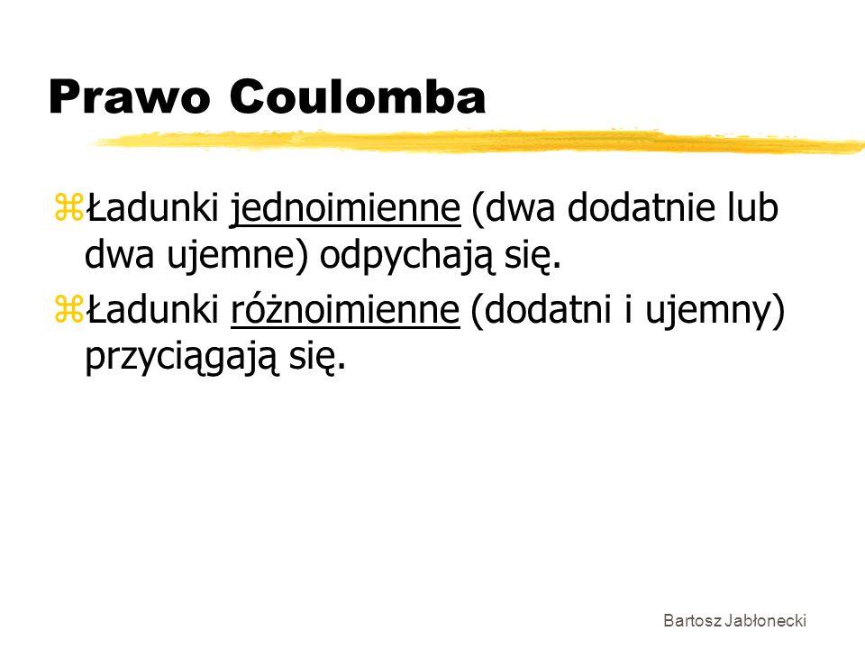 Prawo Coulomba Ładunki jednoimienne (dwa dodatnie lub dwa ujemne) odpychają się. Ładunki różnoimienne (dodatni i ujemny) przyciągają się.
