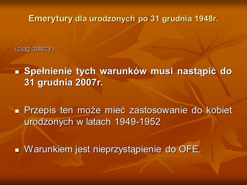 Emerytury dla urodzonych po 31 grudnia 1948r.
