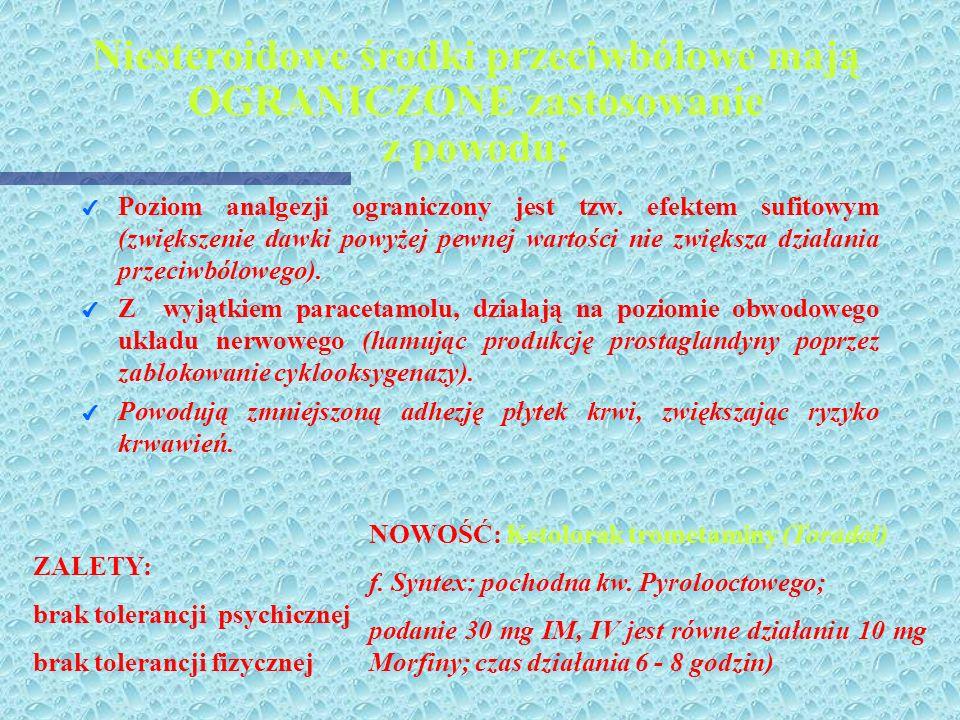Niesteroidowe środki przeciwbólowe mają OGRANICZONE zastosowanie z powodu: