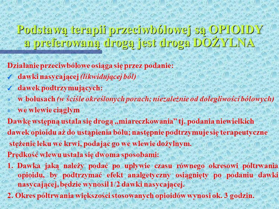 Podstawą terapii przeciwbólowej są OPIOIDY a preferowaną drogą jest droga DOŻYLNA