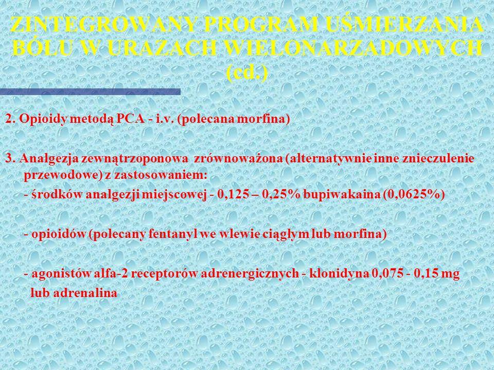 ZINTEGROWANY PROGRAM UŚMIERZANIA BÓLU W URAZACH WIELONARZADOWYCH (cd.)