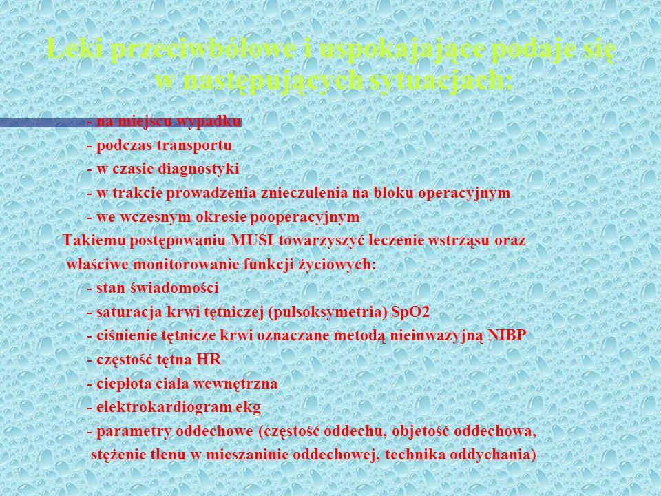 Leki przeciwbólowe i uspokajające podaje się w następujących sytuacjach: