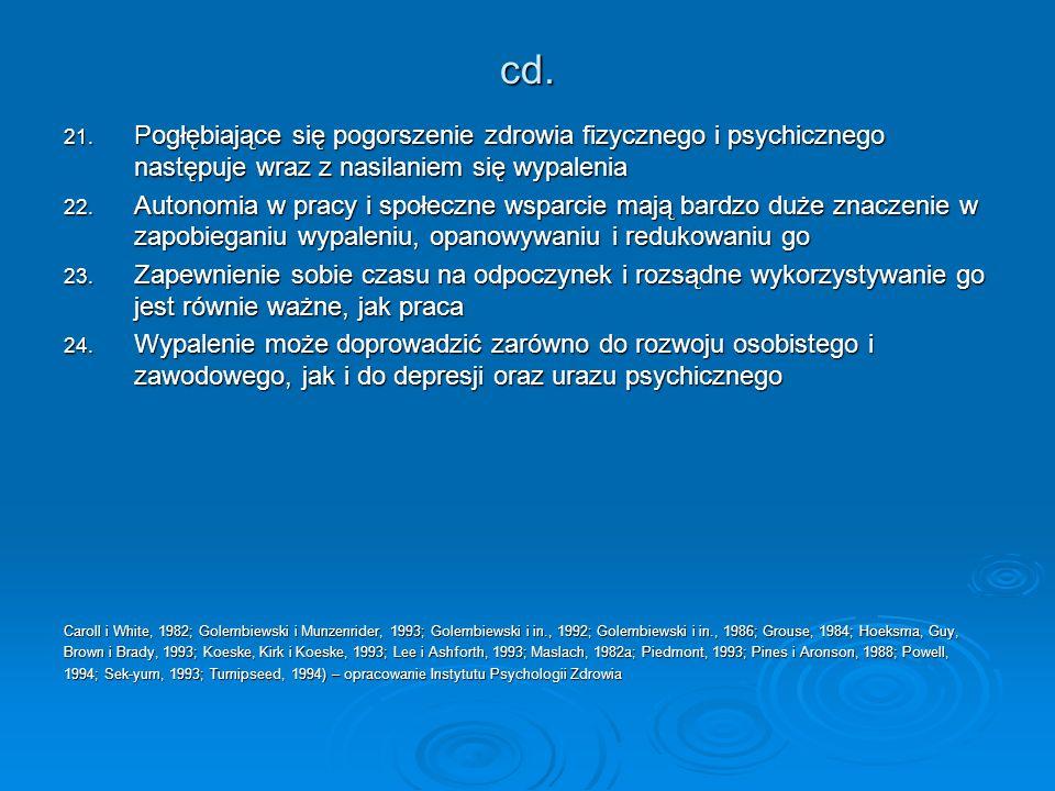 cd. Pogłębiające się pogorszenie zdrowia fizycznego i psychicznego następuje wraz z nasilaniem się wypalenia.
