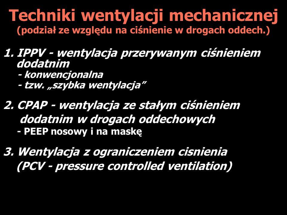 Techniki wentylacji mechanicznej (podział ze względu na ciśnienie w drogach oddech.)