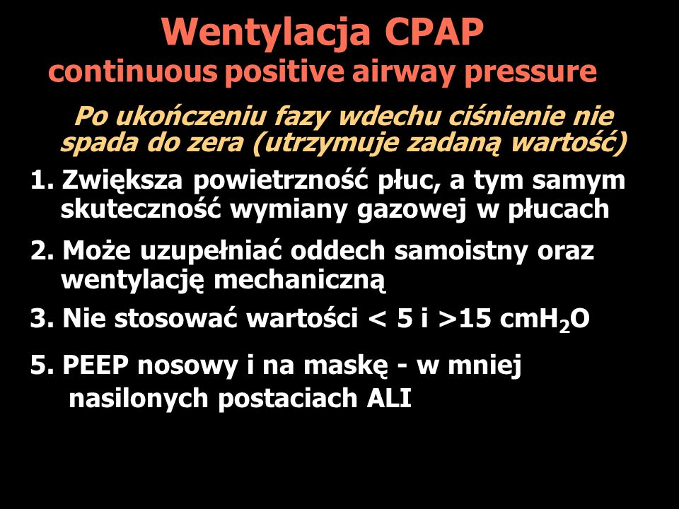 Wentylacja CPAP continuous positive airway pressure