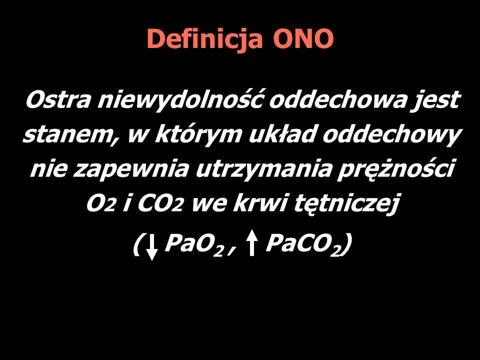 Definicja ONO Ostra niewydolność oddechowa jest stanem, w którym układ oddechowy nie zapewnia utrzymania prężności O2 i CO2 we krwi tętniczej.