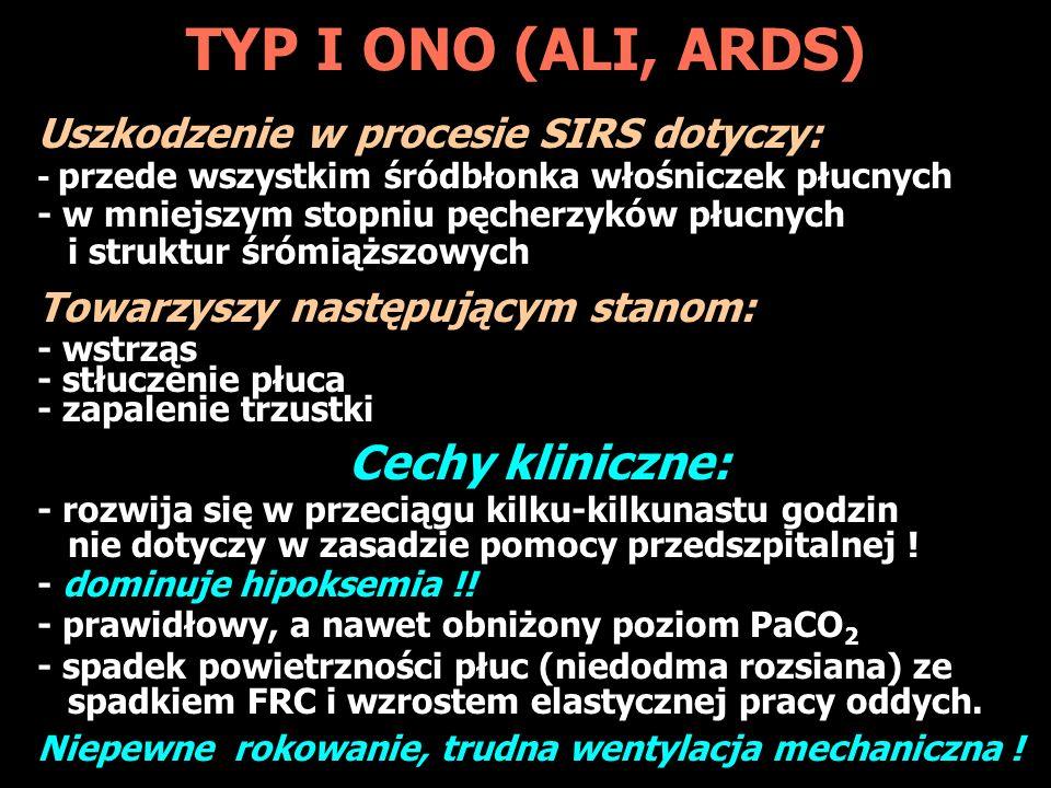 TYP I ONO (ALI, ARDS) Cechy kliniczne:
