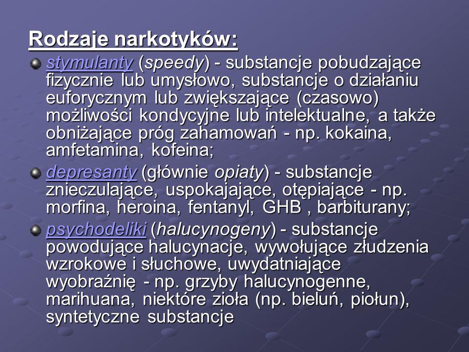Rodzaje narkotyków: