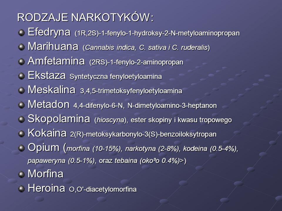 RODZAJE NARKOTYKÓW: Efedryna (1R,2S)-1-fenylo-1-hydroksy-2-N-metyloaminopropan. Marihuana (Cannabis indica, C. sativa i C. ruderalis)