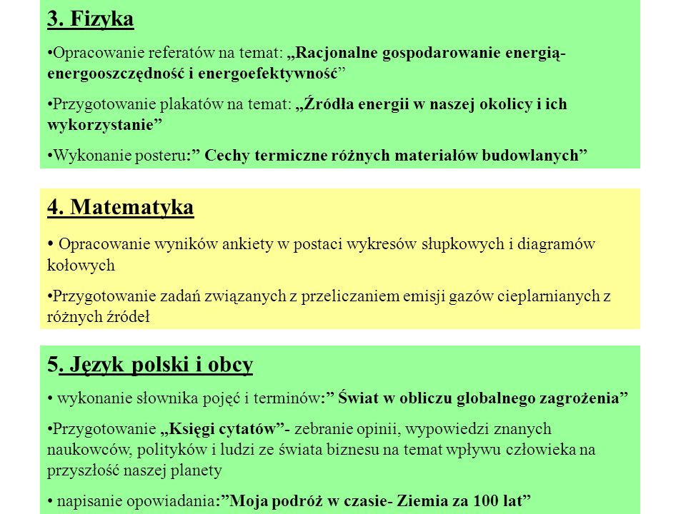 3. Fizyka 4. Matematyka 5. Język polski i obcy