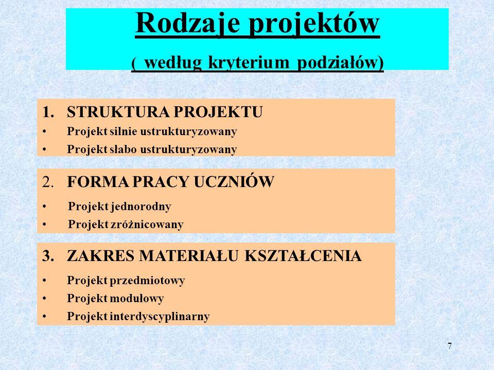 Rodzaje projektów ( według kryterium podziałów)