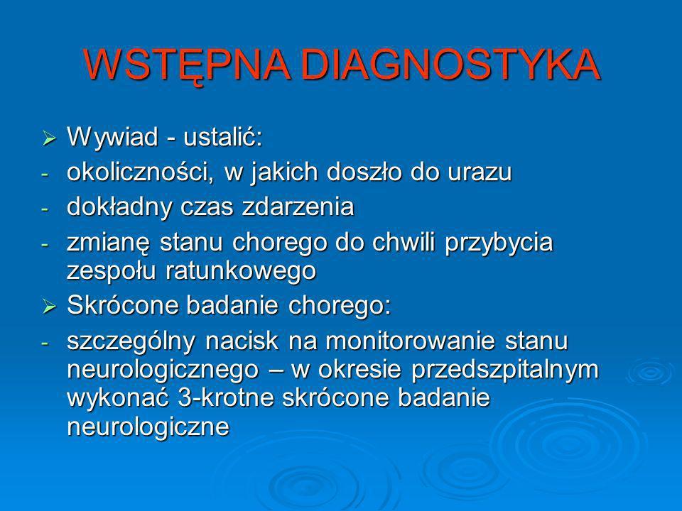 WSTĘPNA DIAGNOSTYKA Wywiad - ustalić: