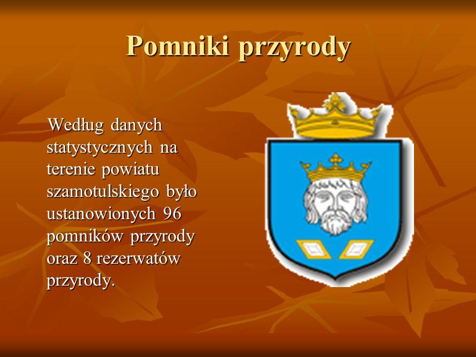 Pomniki przyrody Według danych statystycznych na terenie powiatu szamotulskiego było ustanowionych 96 pomników przyrody oraz 8 rezerwatów przyrody.
