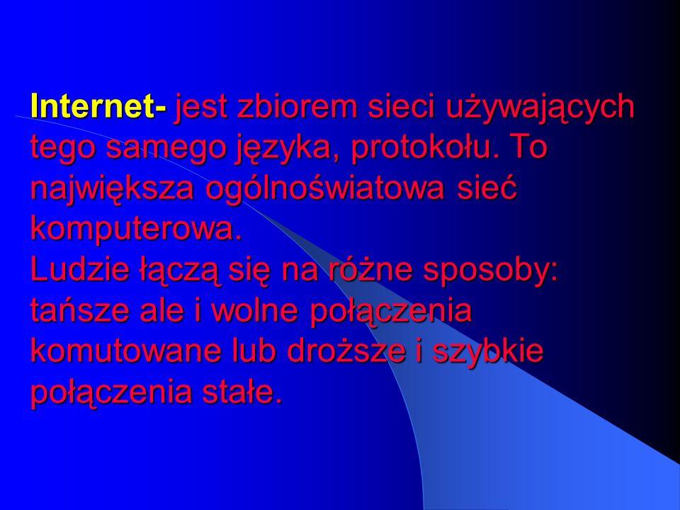 Internet- jest zbiorem sieci używających tego samego języka, protokołu