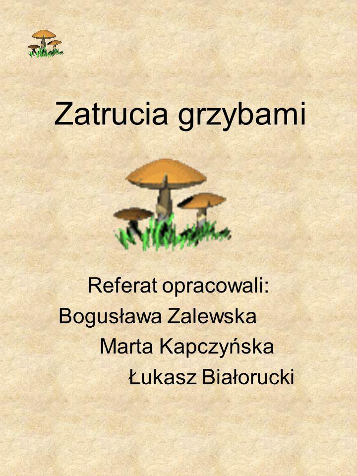 Zatrucia grzybami Referat opracowali: Bogusława Zalewska