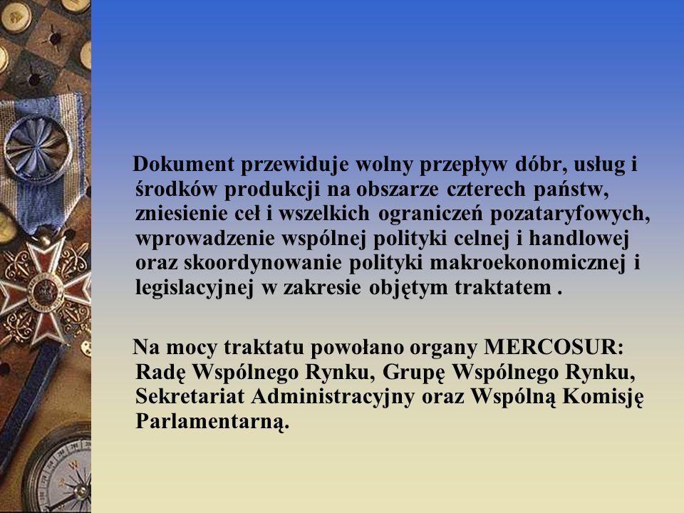 Dokument przewiduje wolny przepływ dóbr, usług i środków produkcji na obszarze czterech państw, zniesienie ceł i wszelkich ograniczeń pozataryfowych, wprowadzenie wspólnej polityki celnej i handlowej oraz skoordynowanie polityki makroekonomicznej i legislacyjnej w zakresie objętym traktatem .