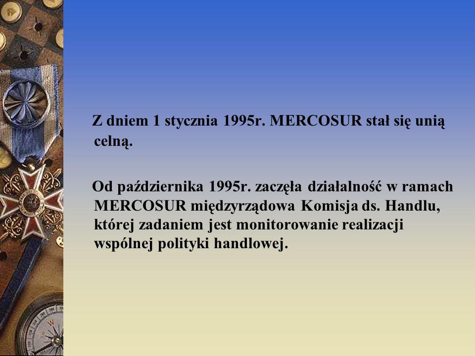 Z dniem 1 stycznia 1995r. MERCOSUR stał się unią celną.