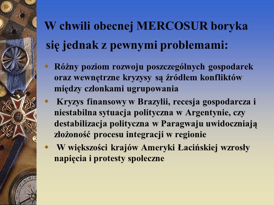 W chwili obecnej MERCOSUR boryka się jednak z pewnymi problemami: